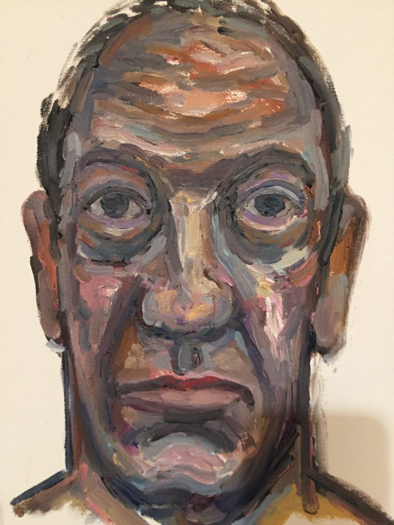 Juan Abreu. Autorretrato, oil on canvas, 27 x 35 cms. 2016